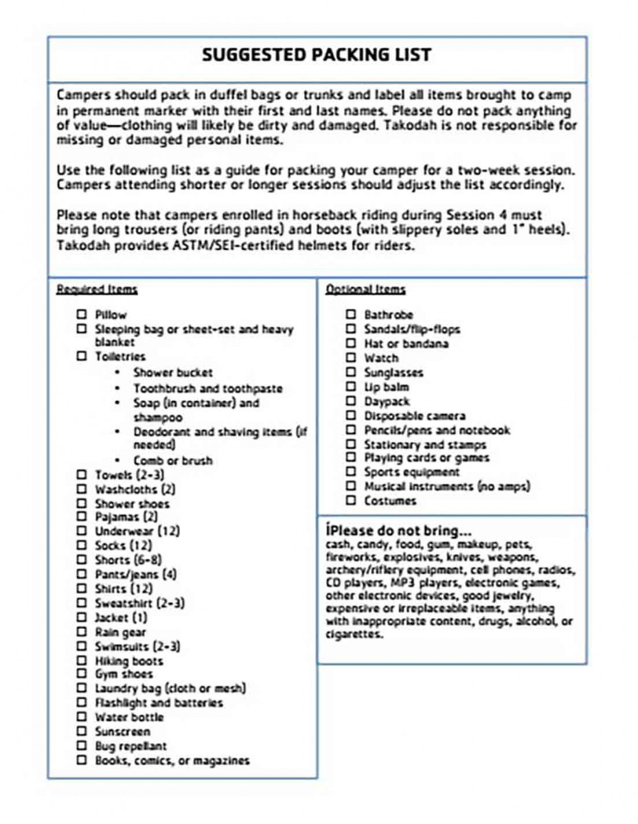 Printable Suggested Packing List