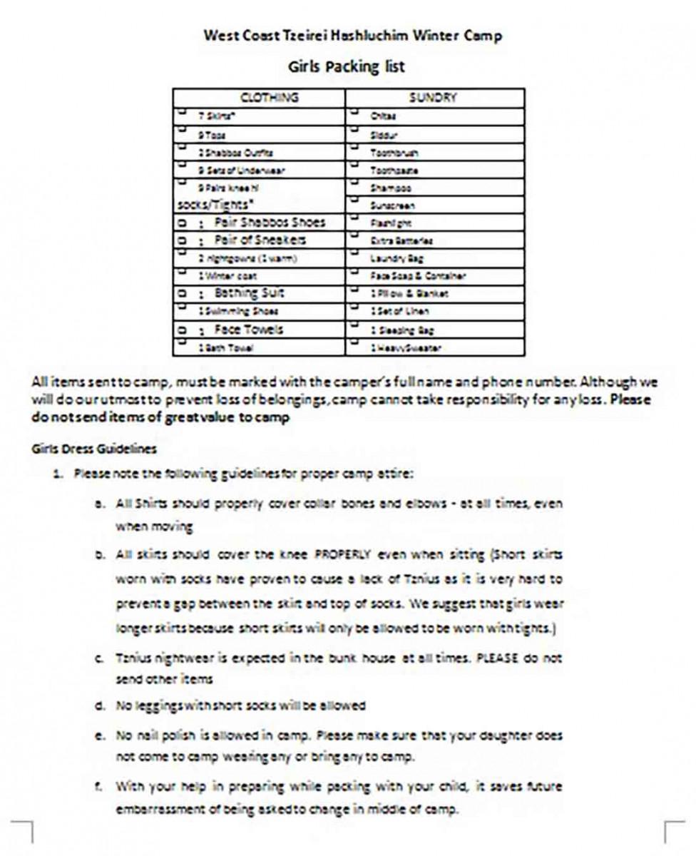 Printable Teenage Girls Packing List