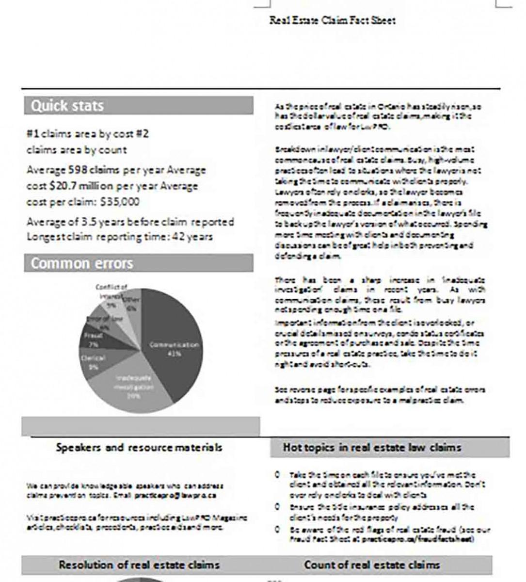 Real Estate Claim Fact Sheet