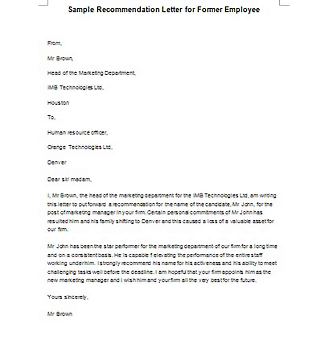 Recommendation Letter for Former Employee templates