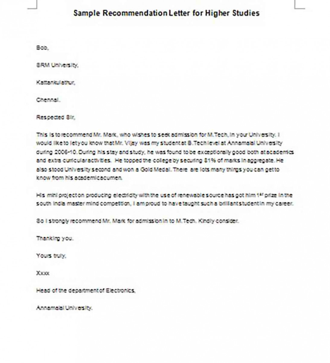 Recommendation Letter for Higher Studies Word Format