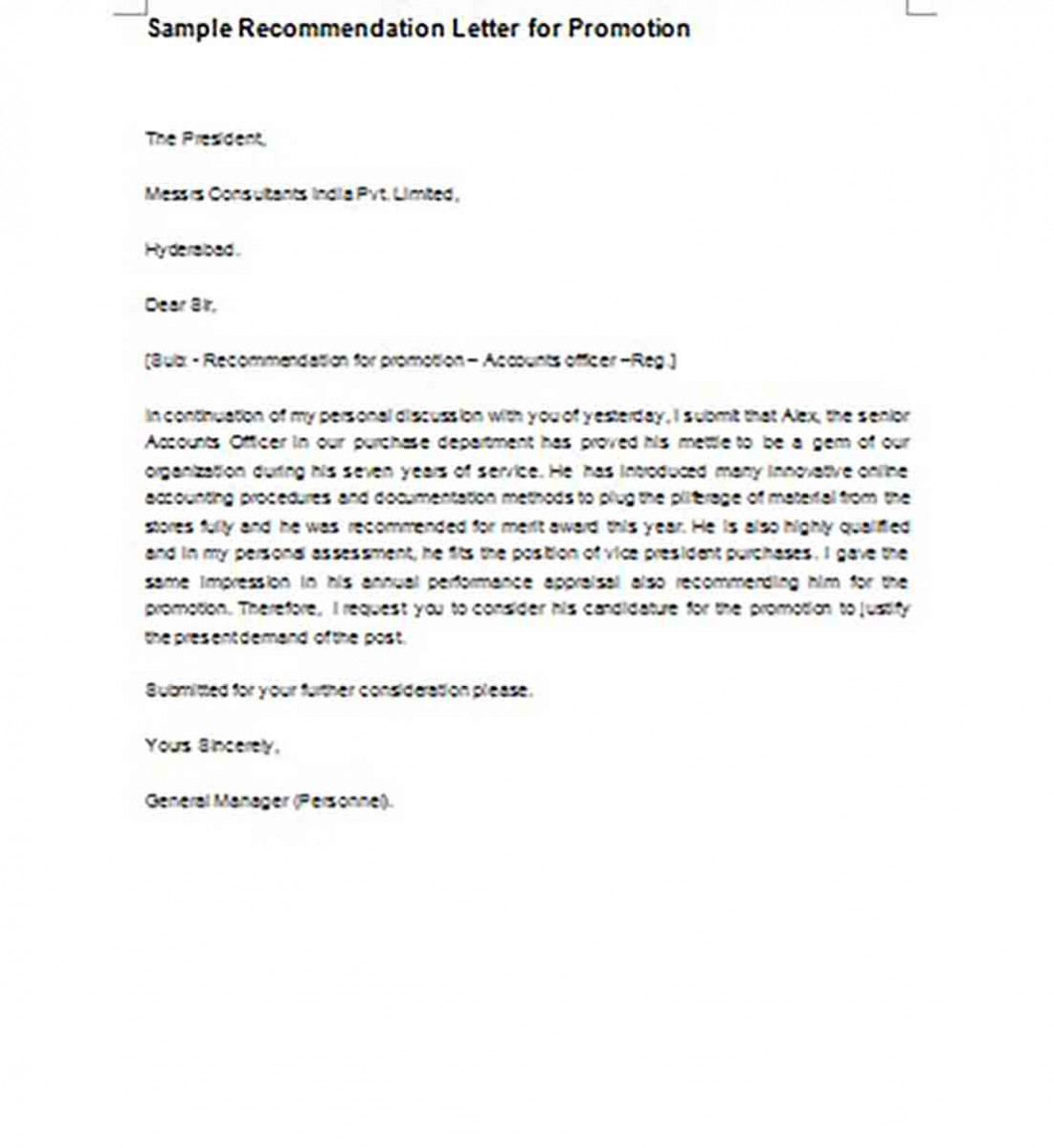 Recommendation Letter for Promotion templates Example
