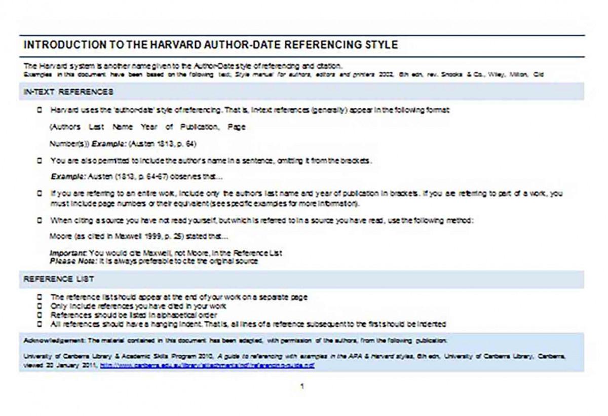 Reference List Harvard
