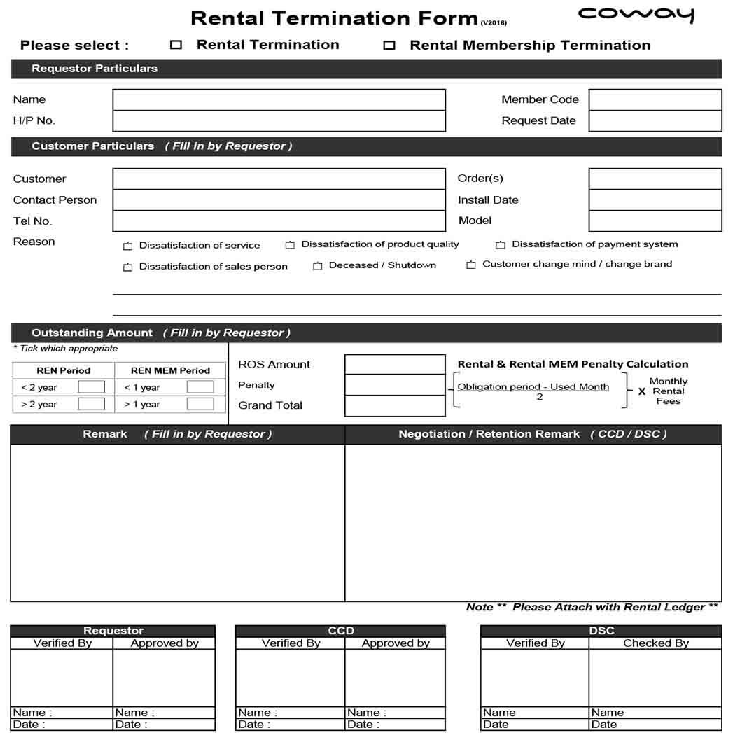 Rental Termination Form 1
