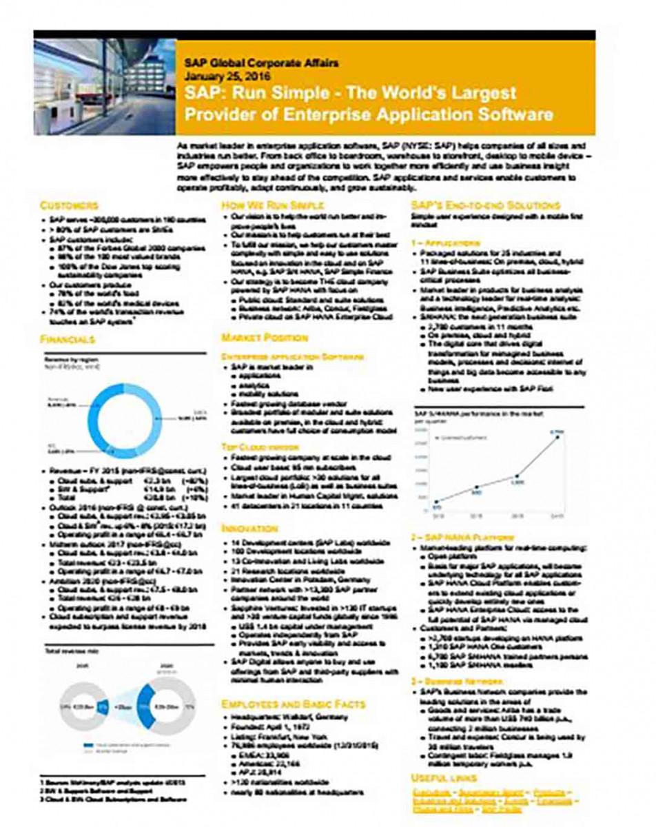 SAP Corporate Fact Sheet