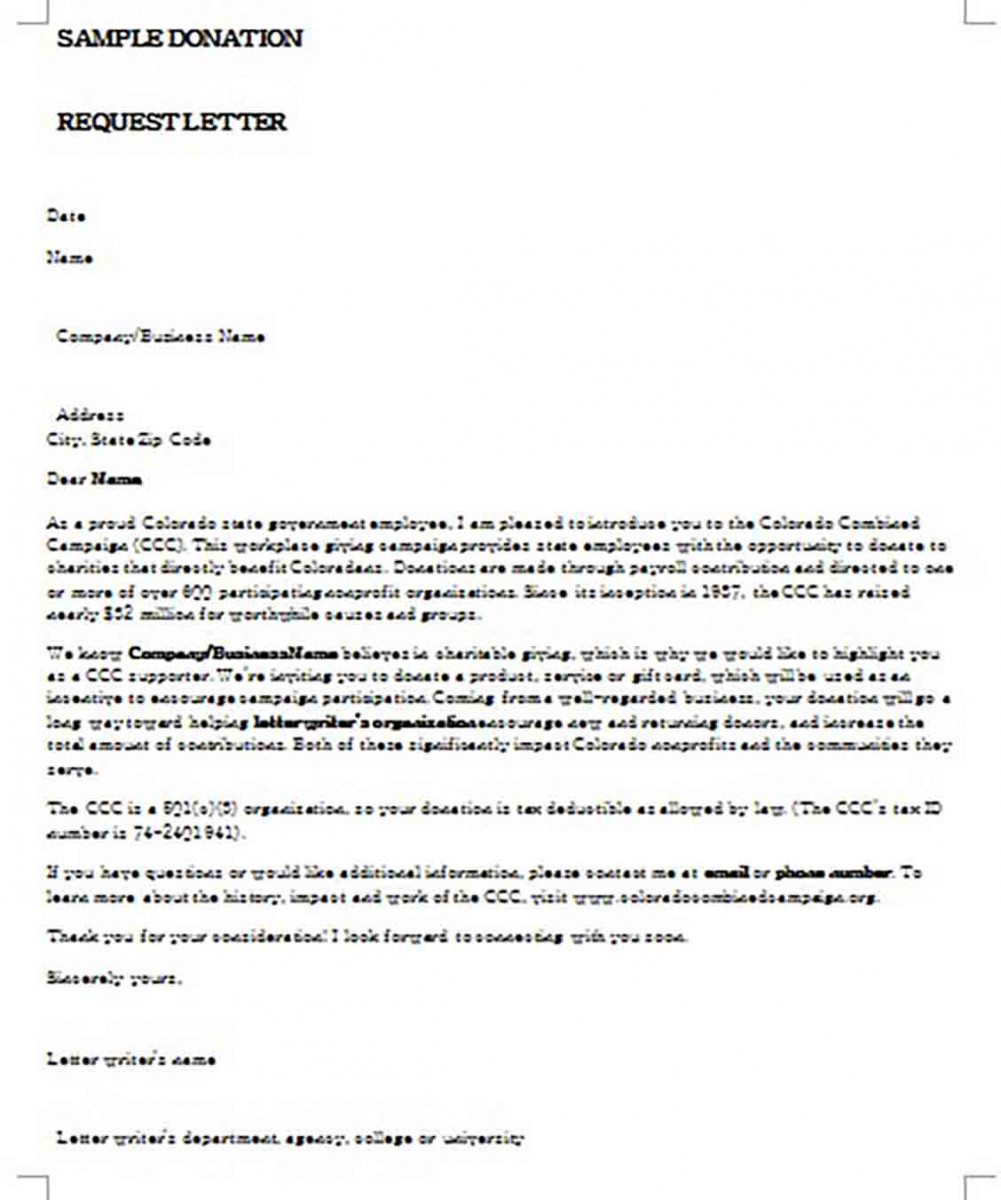 Sample Giving Donation Request Letter