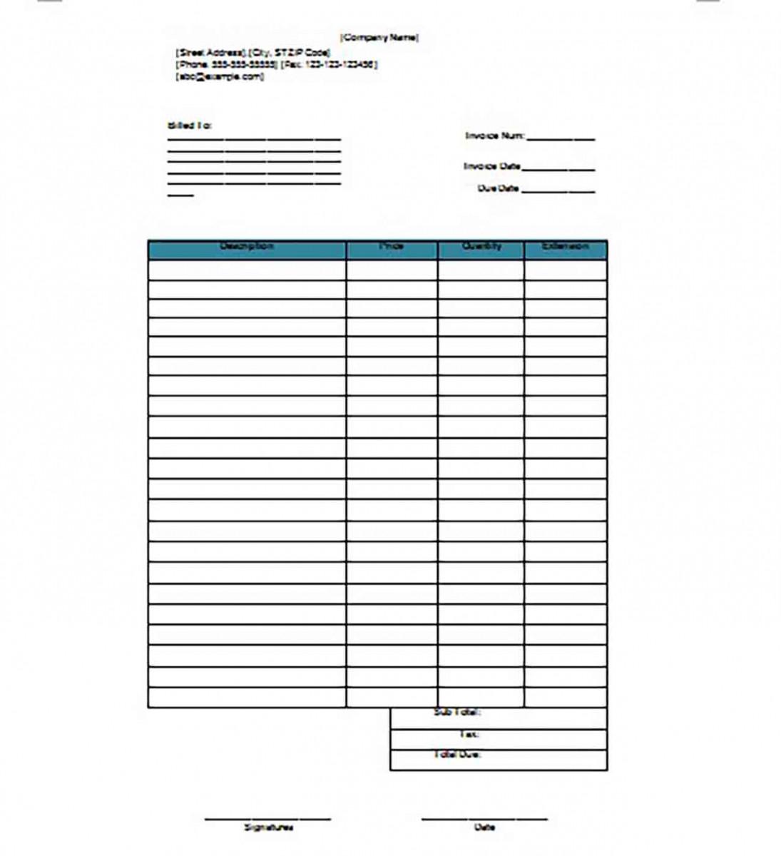 Sample Google Invoice templates