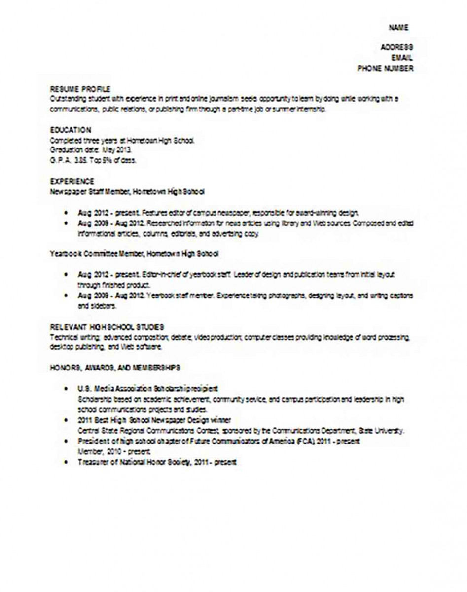 Sample High School Student Academic Resume.doc