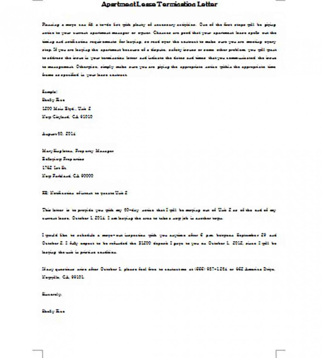Sample Lease Termination Letter Apartment templates Word Doc