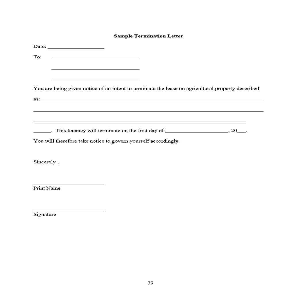 Sample Lease Termination Letter 1