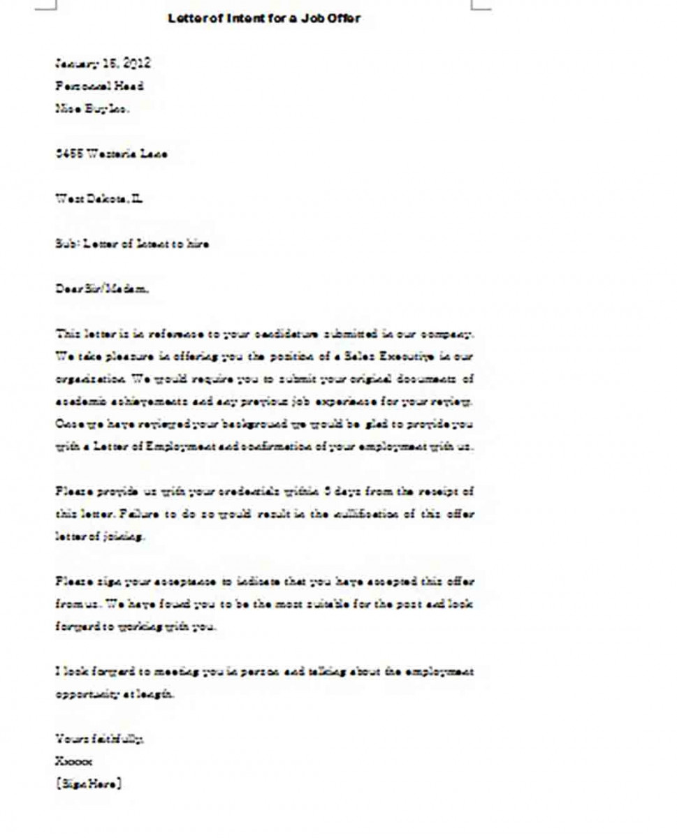 Sample Letter of Intent templates for a Job Offer from Company