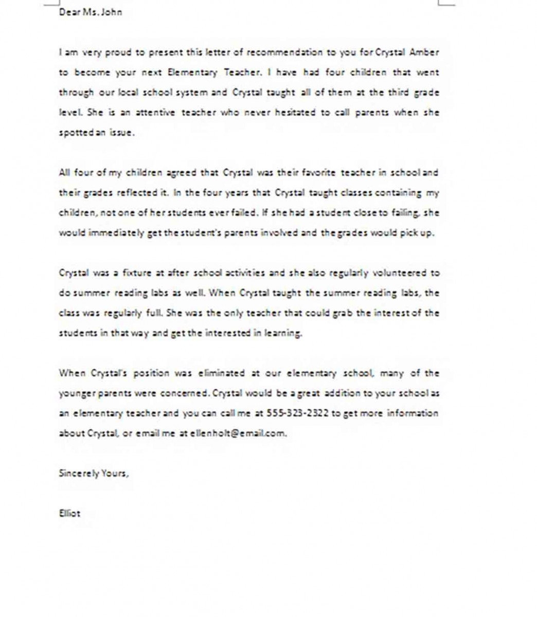 Sample Letter of Recommendation Elementary Teacher
