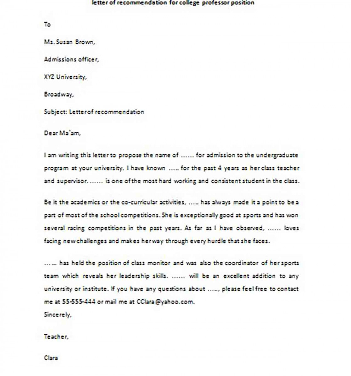 Sample Letter of Recommendation for College Professor Position