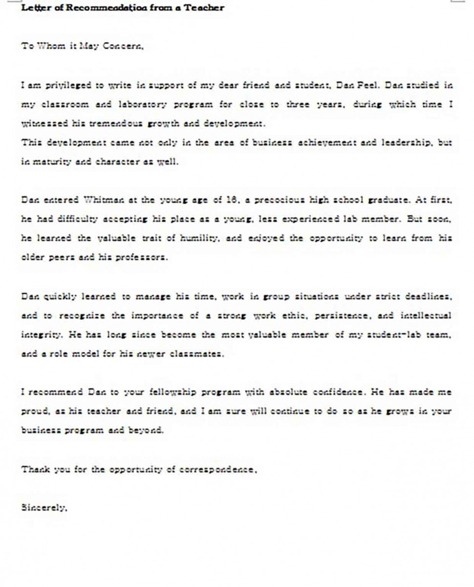 Sample Letter of Recommendation for Teacher From Student