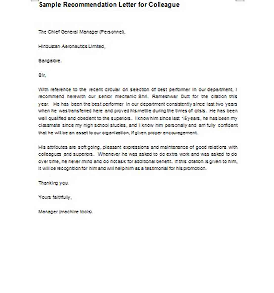 Sample Recommendation Letter for Colleague templates
