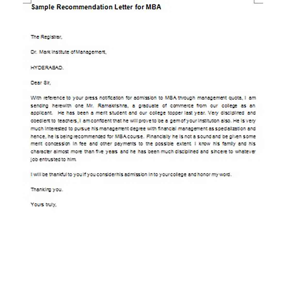 Sample Recommendation Letter for MBA