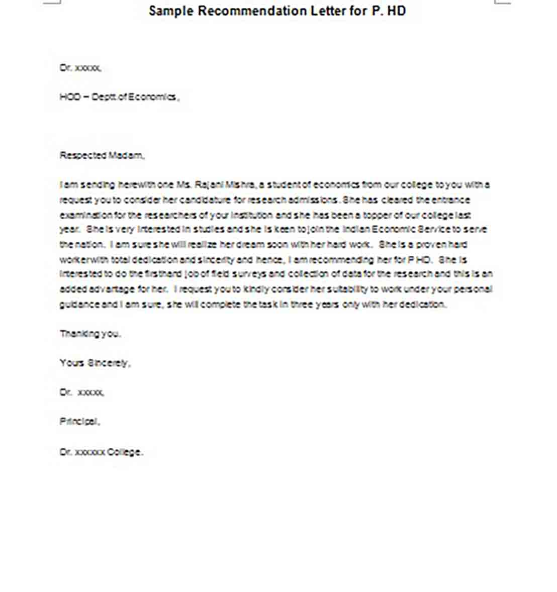 Sample Recommendation Letter for P.HD
