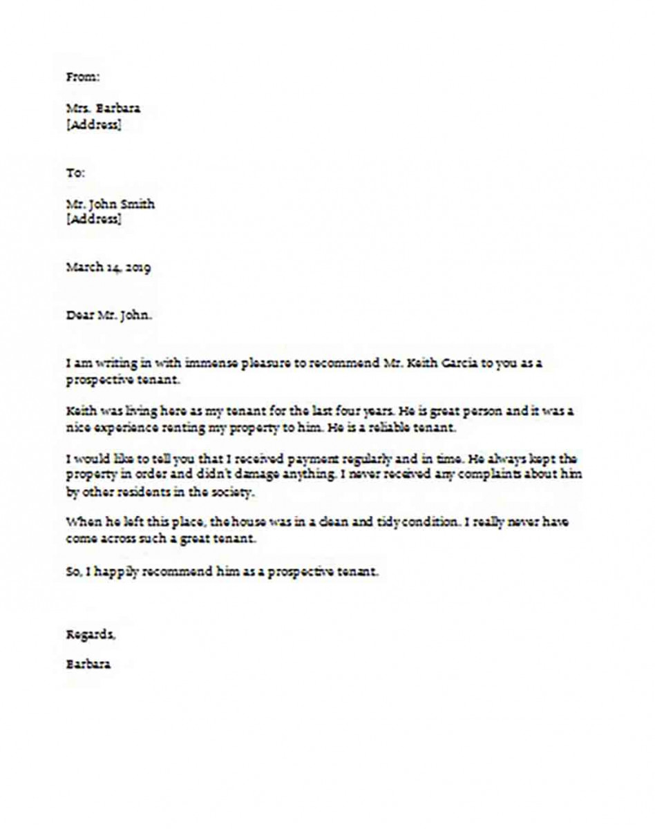 Sample Tenant Recommendation Letter In Word Format