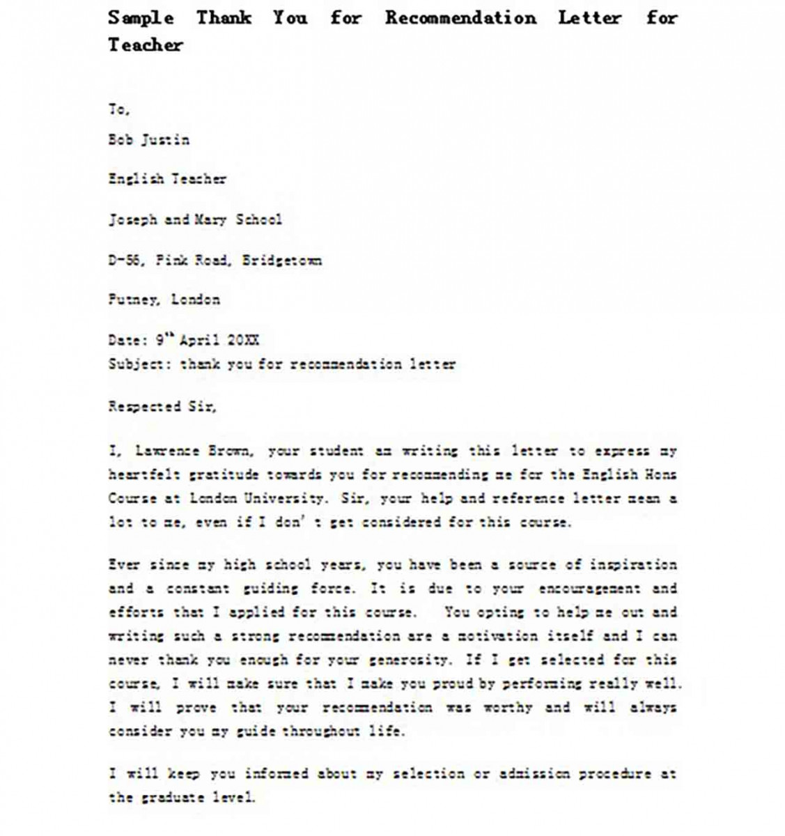Sample Thank You for Recommendation Letter for Teacher