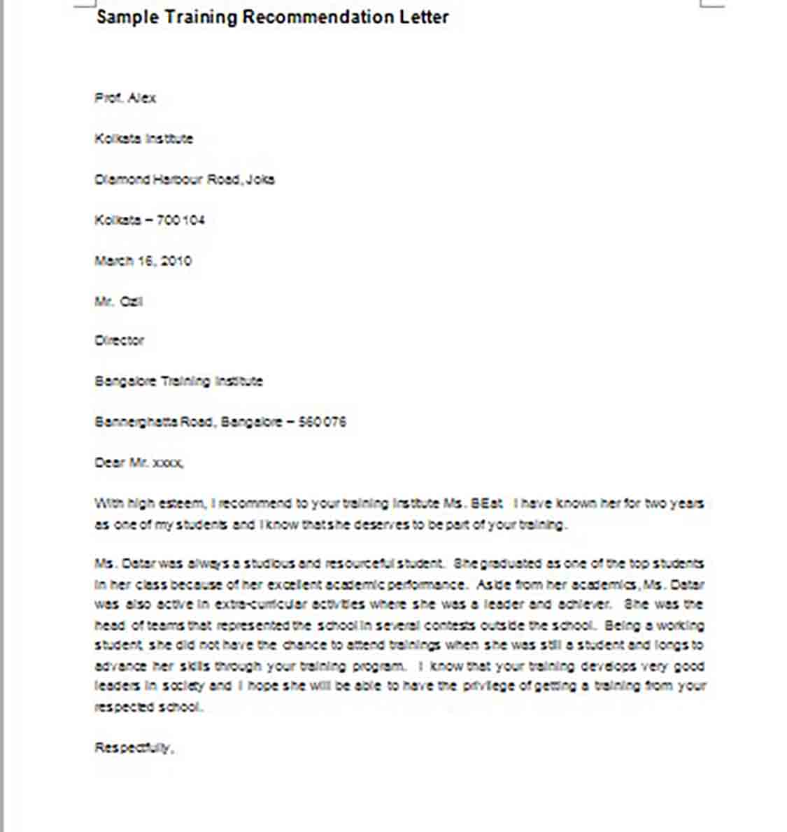 Sample Training Recommendation Letter