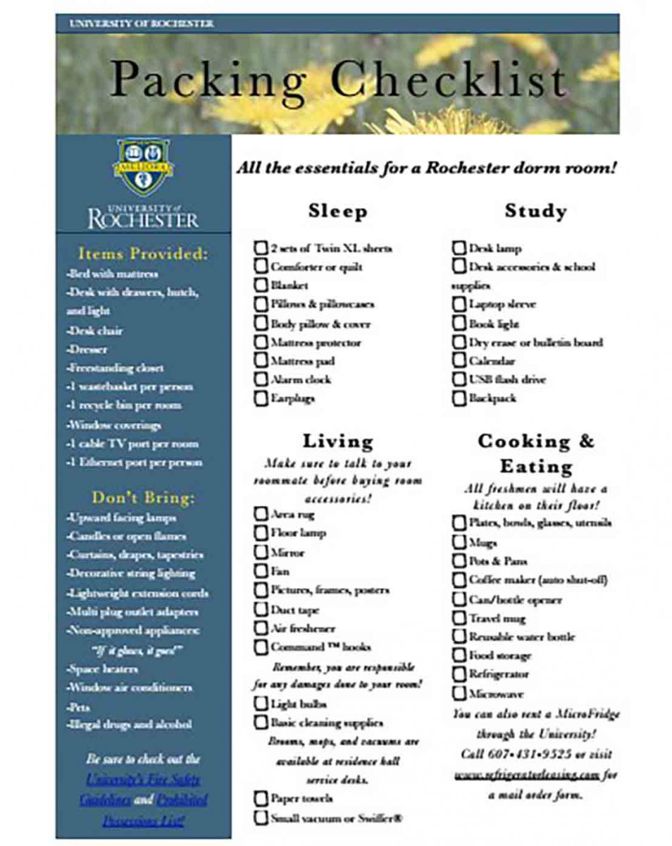 Sample of Packing Checklist
