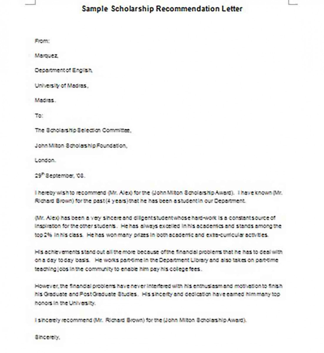 Scholarship Recommendation Letter templates