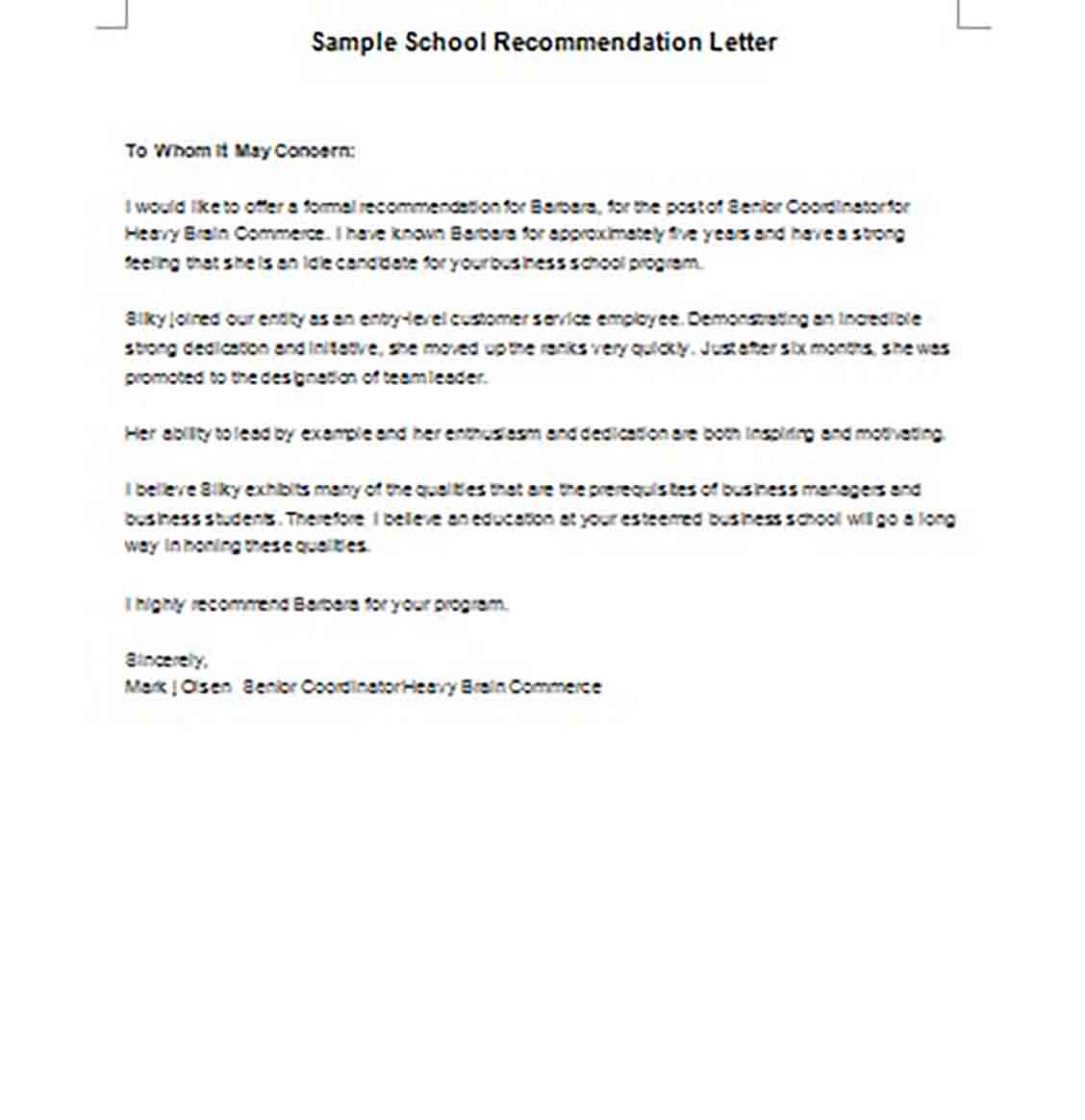 School Recommendation Letter templates Example in Word