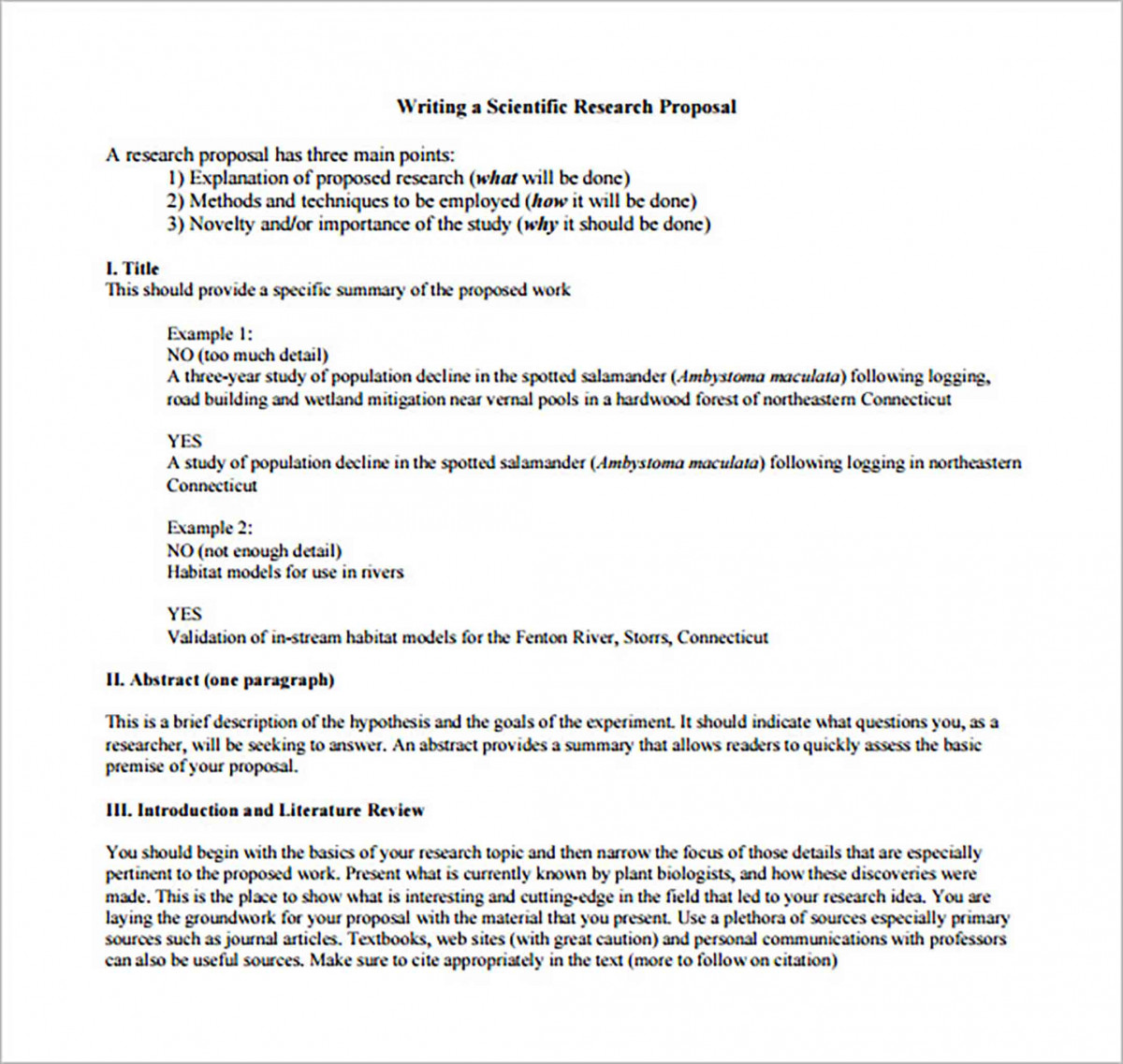 Scientific Research Proposal Format