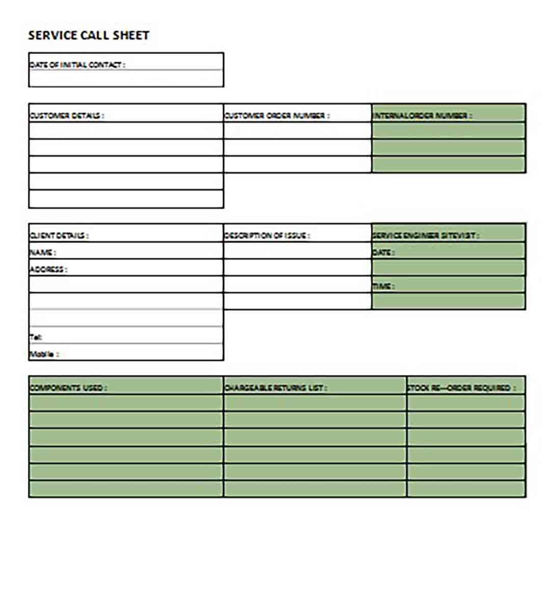Service Call Sheet