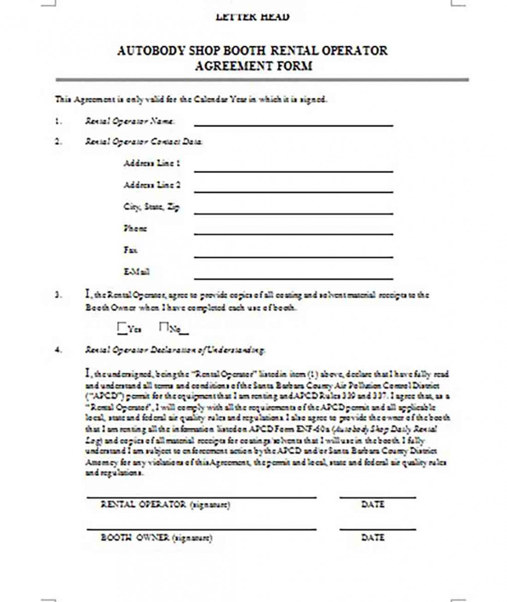 Shop Booth Rental Operator Agreement Form