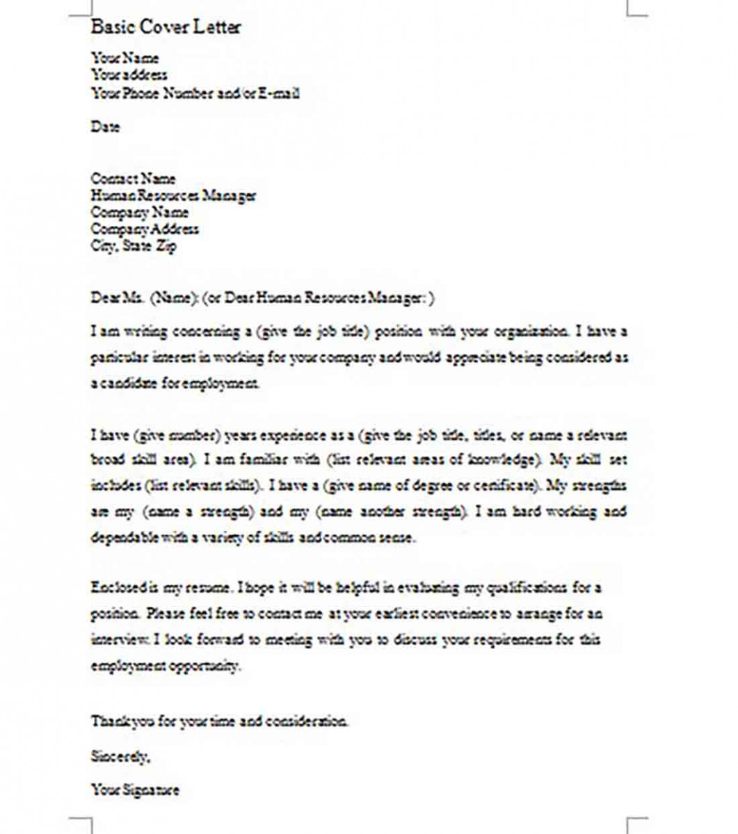 Simple Basic Cover Letter Format templates