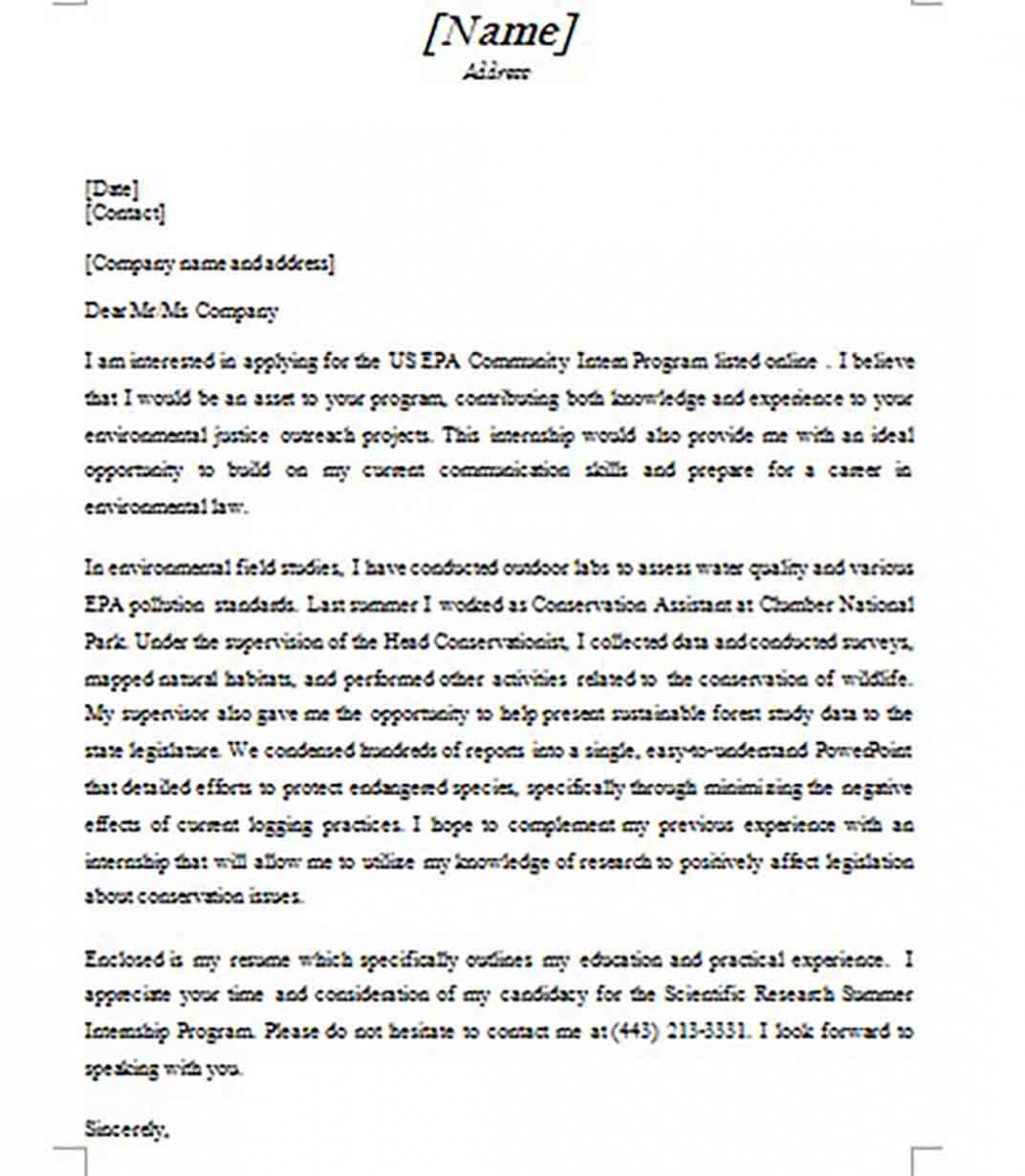 Simple Cover Letter for Internship Word Format