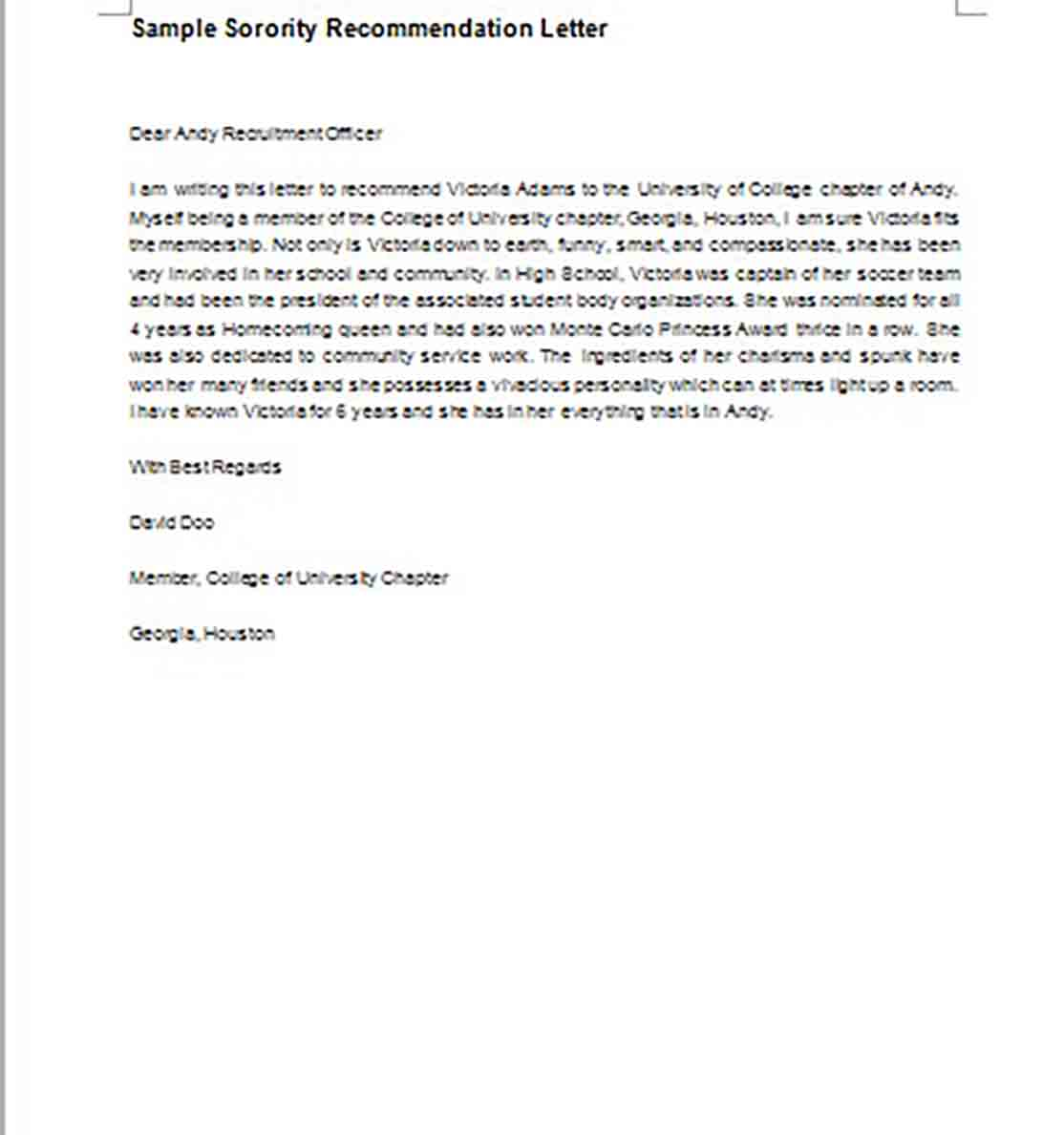 Sorority Recommendation Letter templates MS Word