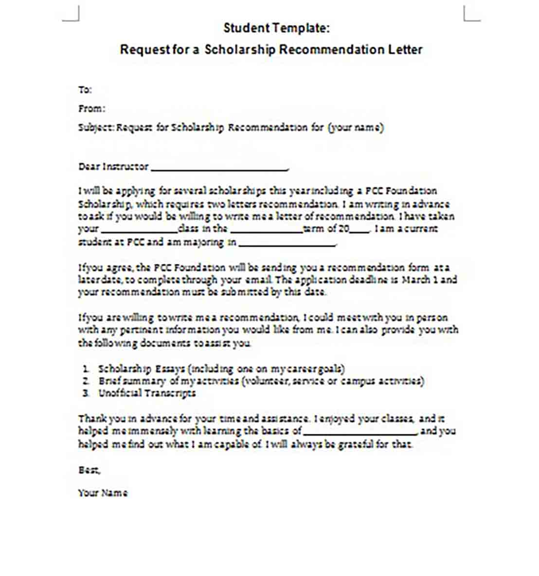 Student Scholarship Recommendation Letter