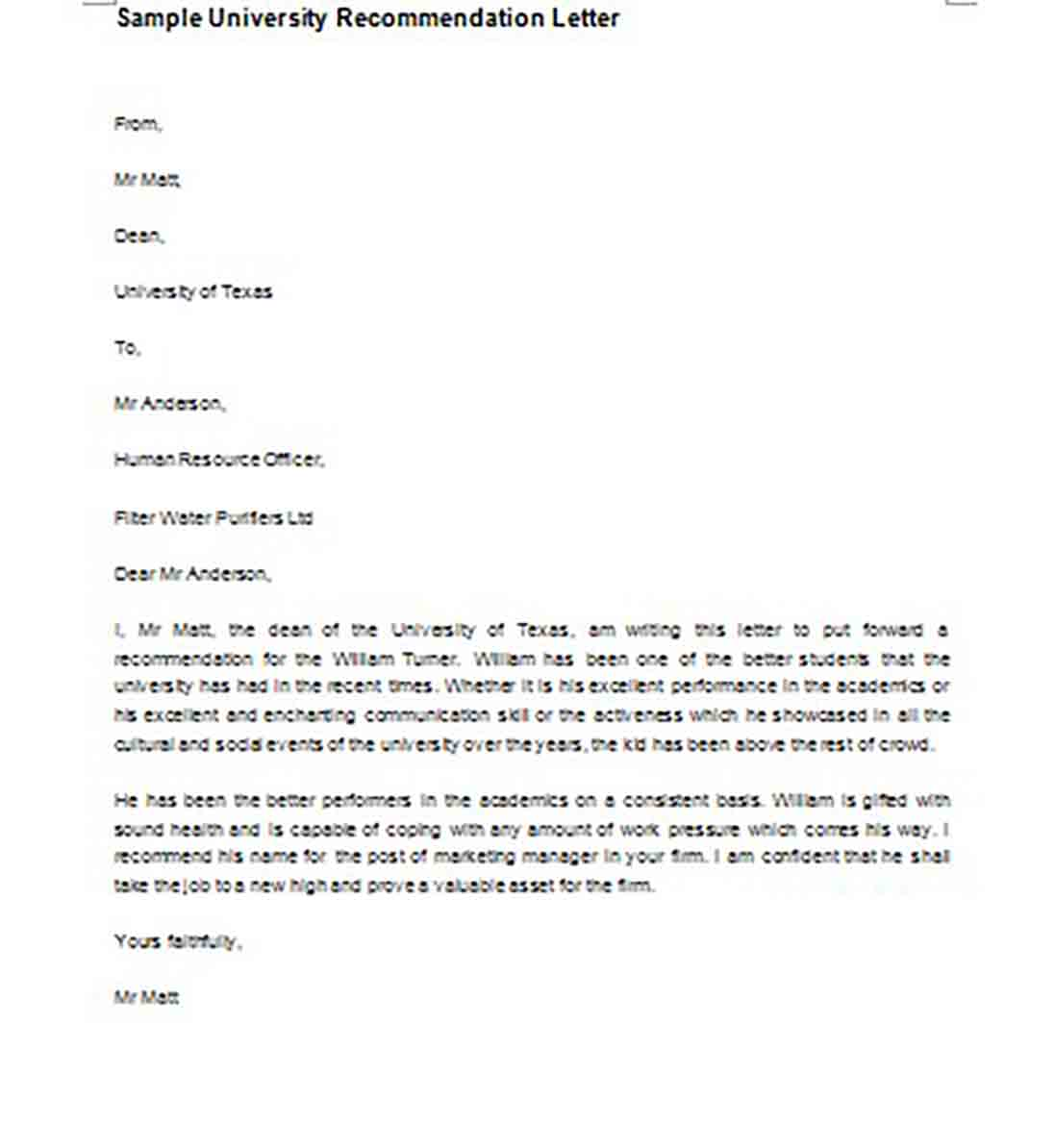 University Recommendation Letter templates