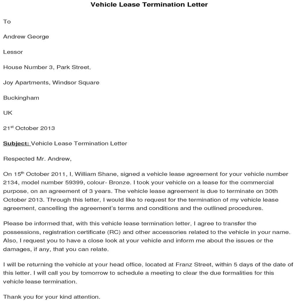 Vehicle Lease Termination Letter 1