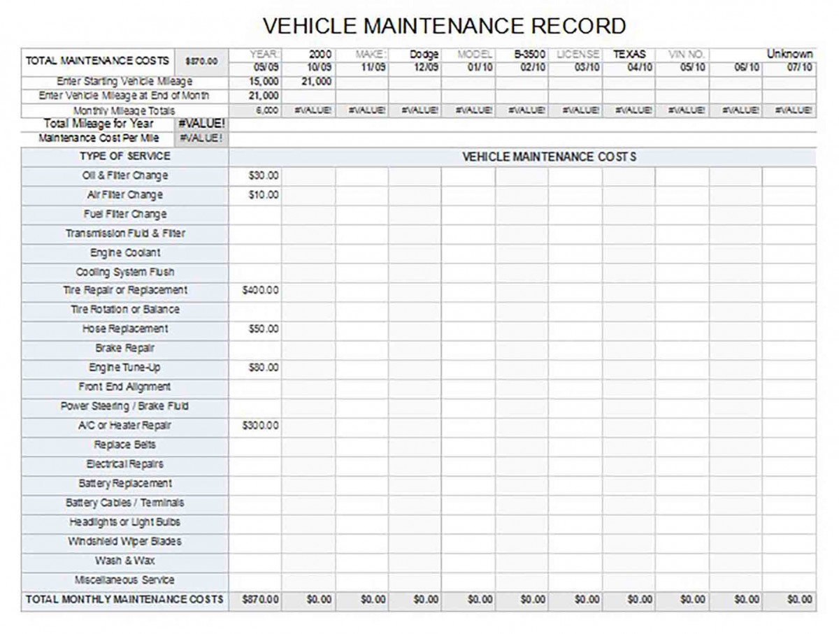Vehicle Maintenance Log Sample1