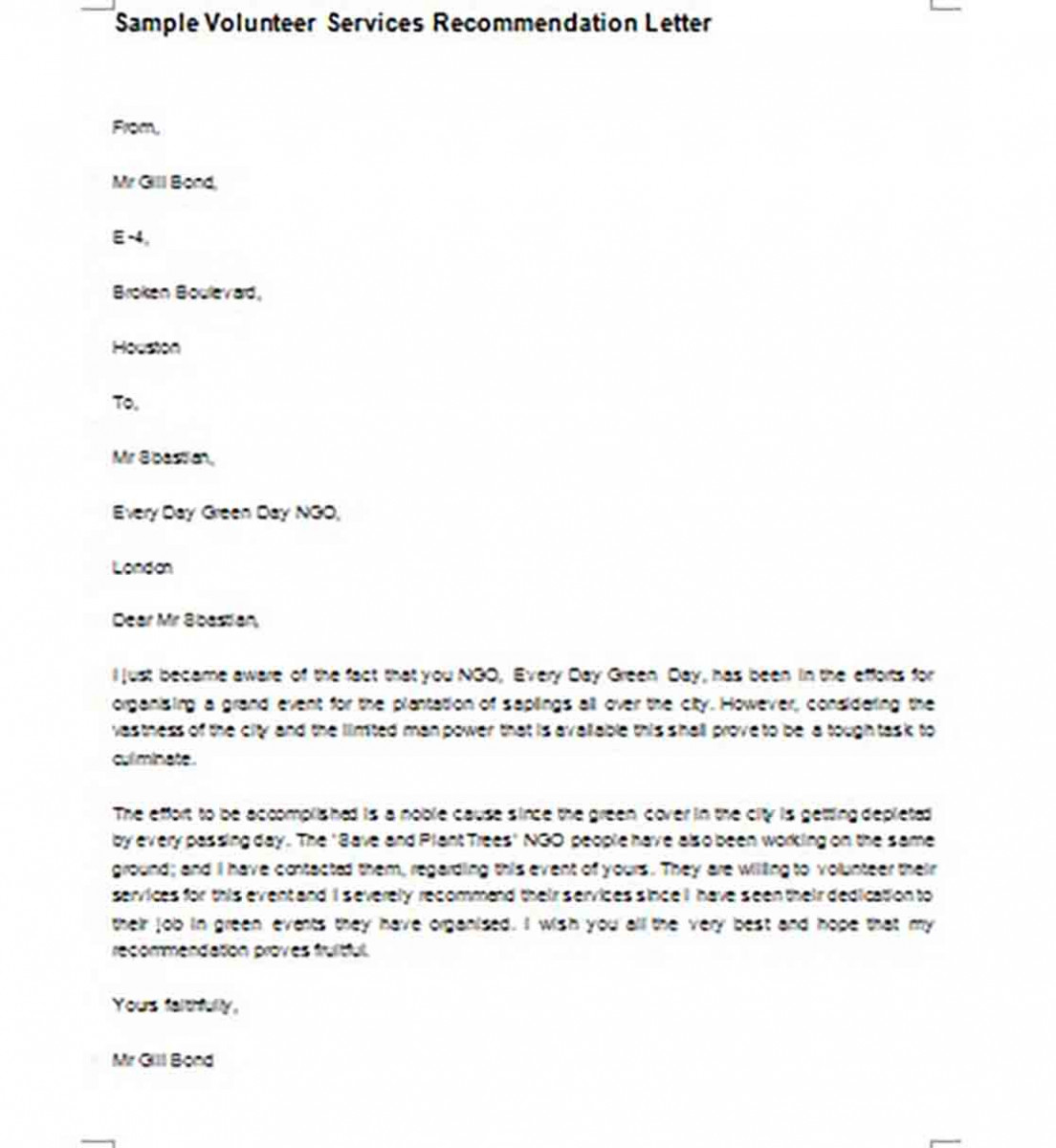 Volunteer Services Recommendation Letter templates