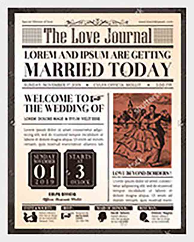 Wedding Invitation Old Newspaper templates 1