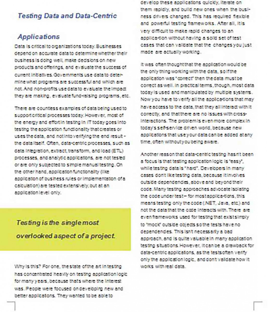 White Paper for Data Testing