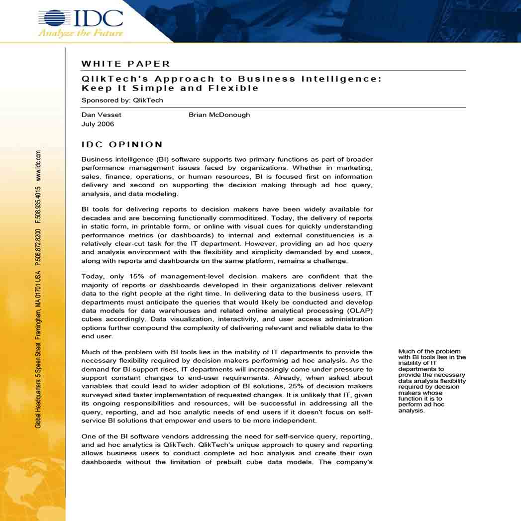 White Paper on Business Intelligence 1