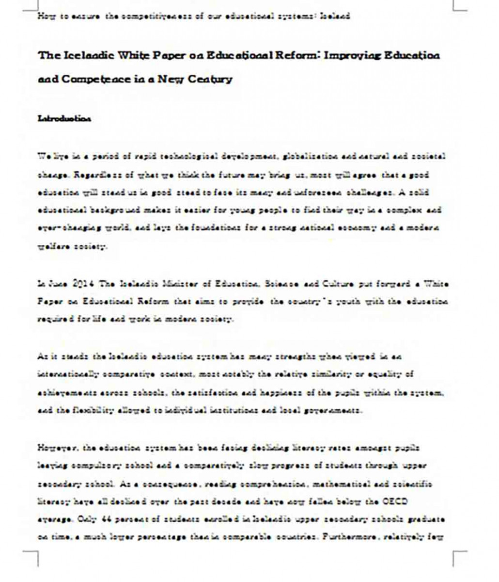 White Paper on Education Reform
