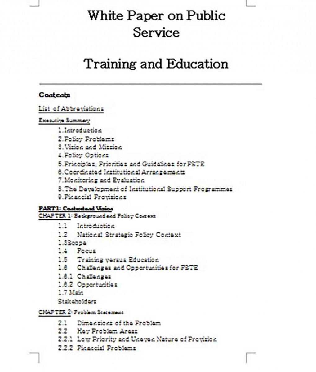 White Paper on Education and Training