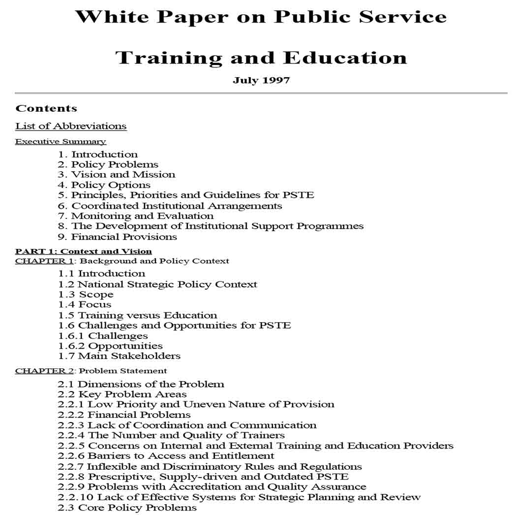 White Paper on Education and Training 1