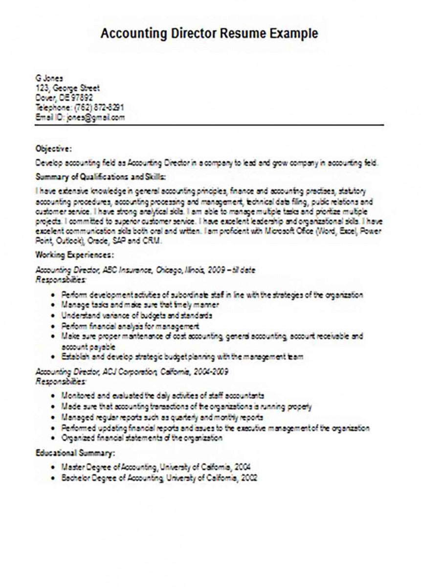 accounting director resume example 1