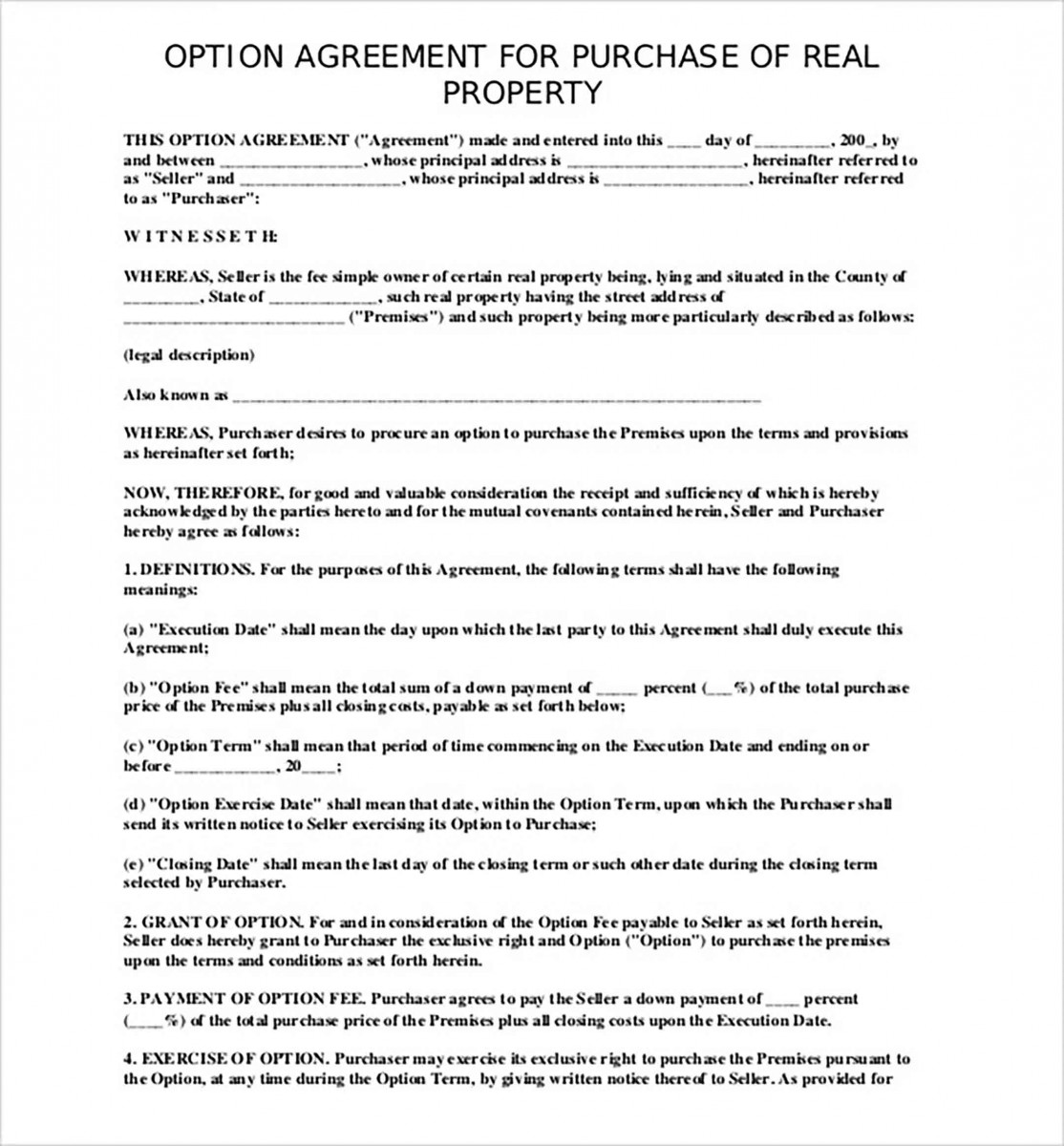 agreement to purchase property
