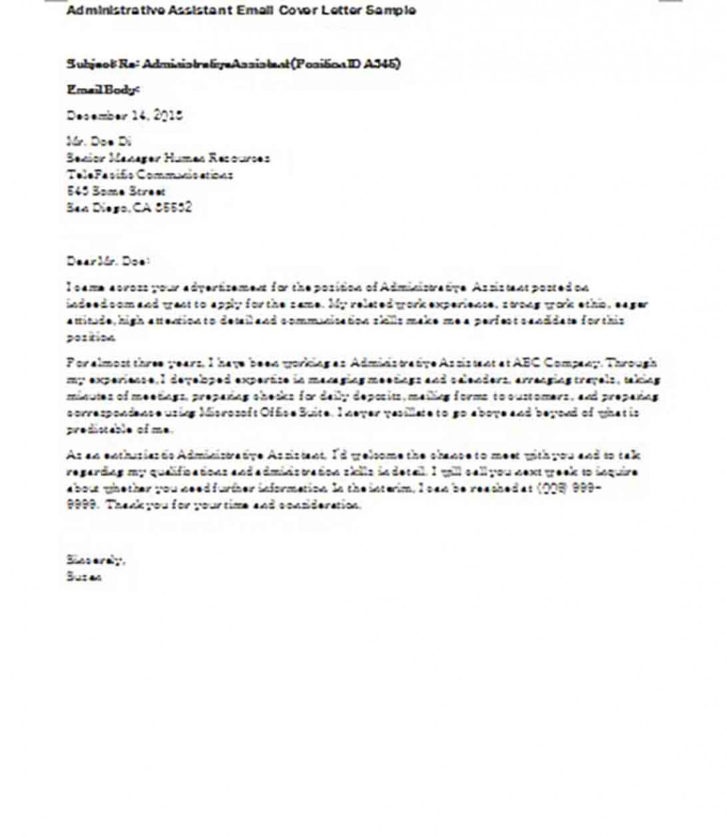 dministrative Assistant Email Cover Letter Sample