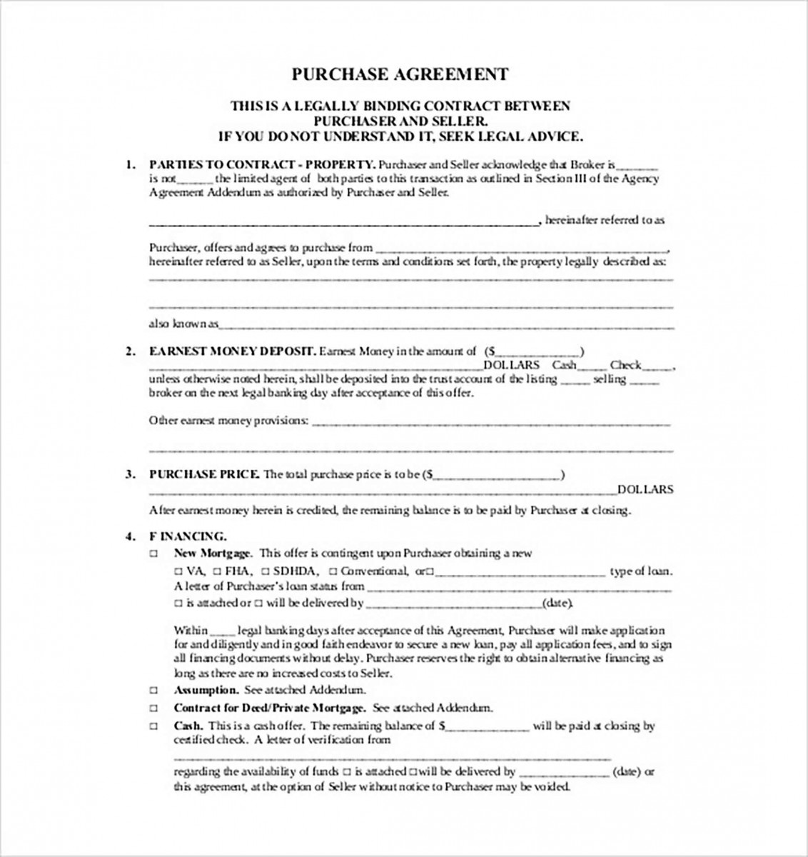 purchase contract agreement