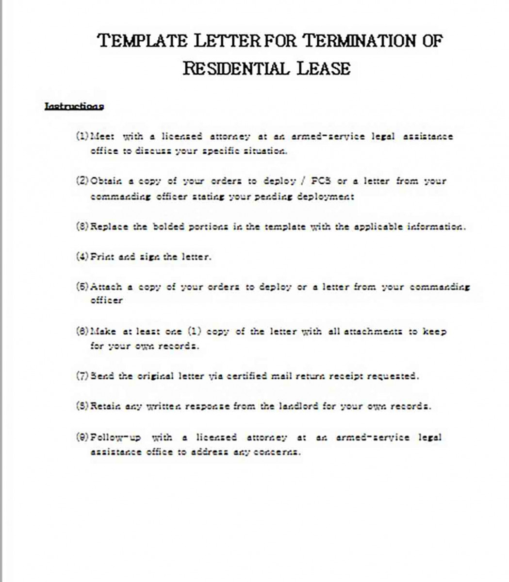 templates Letter for Termination of Residential Lease1