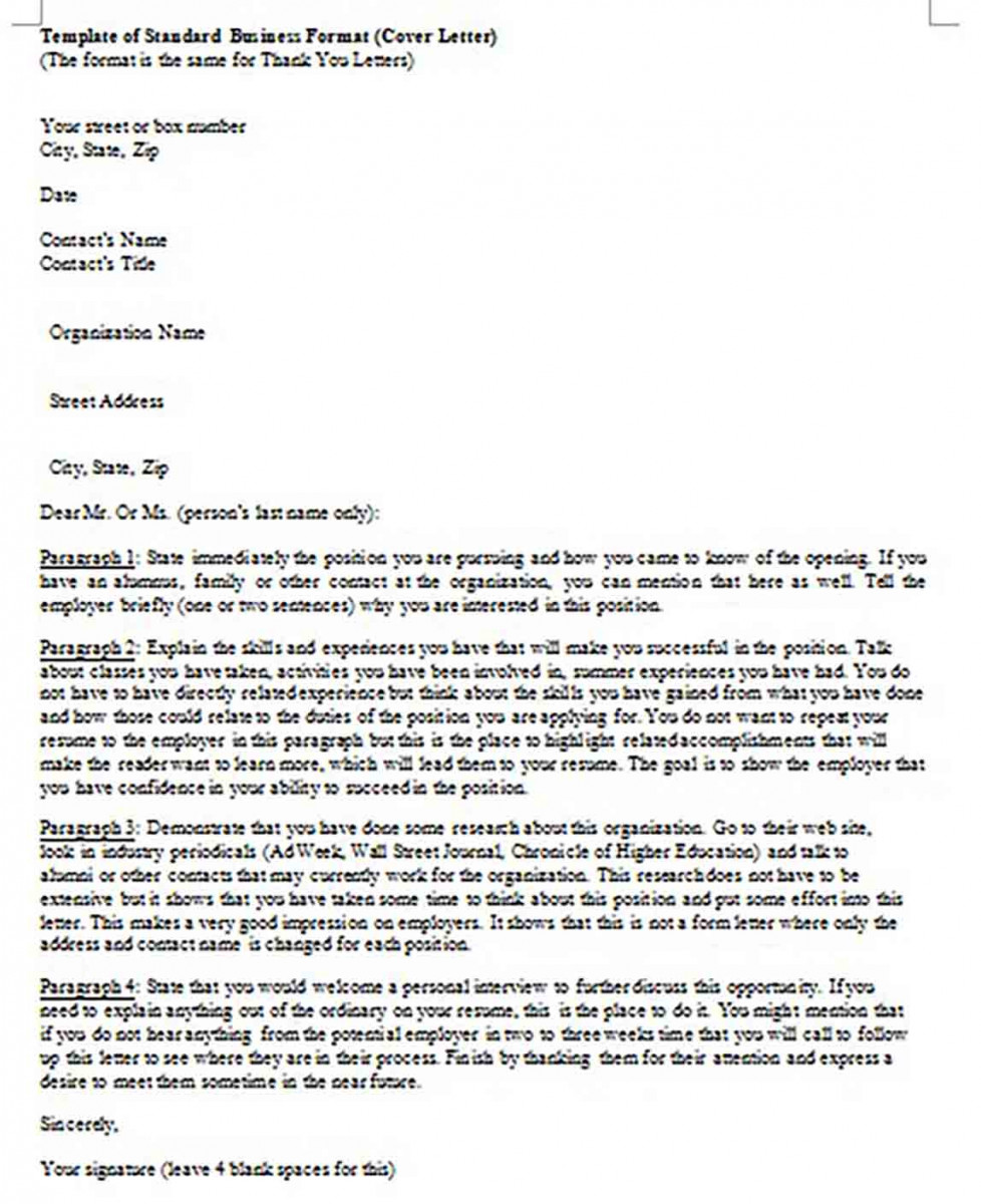templates of Standard Business Cover Letter Format